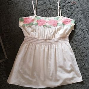 Spaghetti strap top with pink floral trim